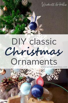 Easy DIY Classic Christmas ornaments from polystyrene balls and ribbon. Diy Christmas Decorations, Diy Christmas Ornaments, Christmas Bulbs, Homemade Christmas Presents, Decorating Blogs, Windmill, Balls, Easy Diy, Ribbon