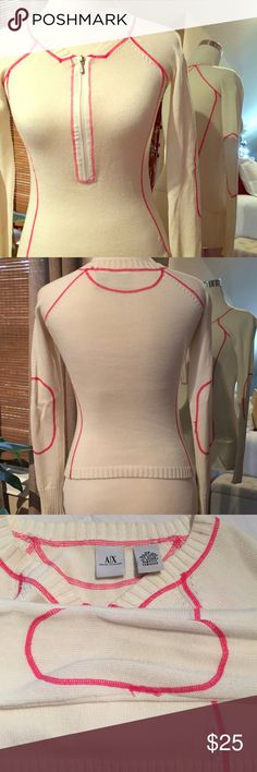 Armani Exchange long sleeve Off white  with hot pink stitch, great condition and perfect for fall.  Lightweight Armani Exchange Sweaters Crew & Scoop Necks