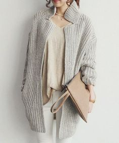 Stylish Stand-Up Collar Long Sleeve Loose-Fitting Solid Color Knitted Women's CardiganSweaters & Cardigans | RoseGal.com