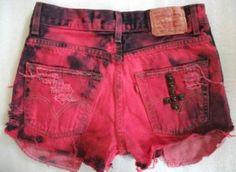 red & black tie dye shorts