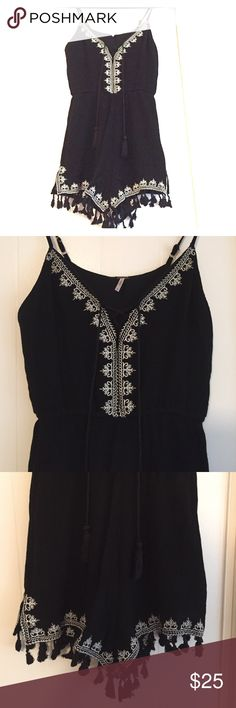 Indie Romper Adorable black and white, frilly, romper with tassels. Poof! Other