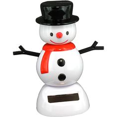 This frosty snowman, bundled up with a scarf and black hat, celebrates the advent of Winter and the holiday season by dancing a joyous jig!  Because he gets his energy from light, he'll dance indefinitely when exposed to the rays of the sun - but don't worry, he won't melt!