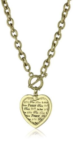 1928 Jewelry Heart Peace Medallion Necklace - 1928, Heart, Jewelry, Medallion, Necklace, Peace http://designerjewelrygalleria.com/1928-jewelry/1928-necklaces/1928-jewelry-heart-peace-medallion-necklace/