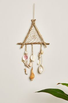 Triangle Wood and Shell Mobile