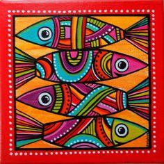 """Un tableau original et coloré de """"Sardines"""" à l'acrylique...."""