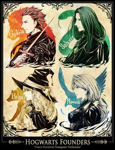 Harry Potter, Hogwarts' Founders (Godric Gryffindor, Salazar Slytherin, Rowena Ravenclaw, Helga Hufflepuff) love the anime Harry Potter Anime, Harry Potter Fan Art, Harry Potter Casas, Memes Do Harry Potter, Hery Potter, Magia Harry Potter, Estilo Harry Potter, Mundo Harry Potter, Harry Potter Drawings