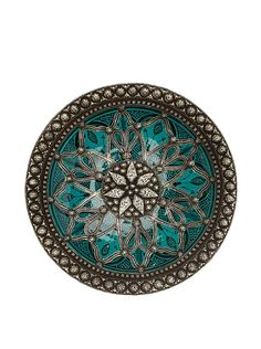 So pretty! Traditional Moroccan Ceramic Bowl with Metal Trim