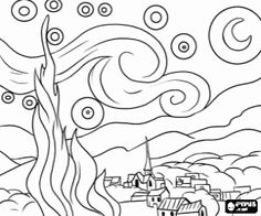 How to Draw 'The Starry Night' by Vincent van Gogh, Step by Step, Online Drawing Tutorial Desenhos Van Gogh, Van Gogh Arte, Art Sketches, Art Drawings, Starry Night Art, Starry Night Tattoo, Starry Nights, Quilt Art, Online Drawing