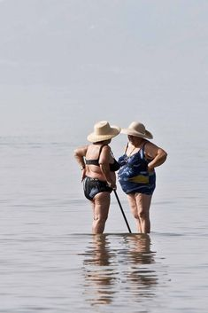 Looks like they're still enjoying the sea! Sand and salt water, good for the feet! always nice to have a bff! My Best Friend, Best Friends, Old Friends, Old Age, Young At Heart, The Bikini, Aging Gracefully, Forever Young, Poses