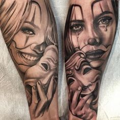 Realistic tattoo black and grey drama