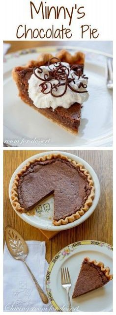 Minny's Chocolate Pie - the recipe from the movie - The Help - a delicious, easy, and creamy chocolate pie   www.savingdessert.com