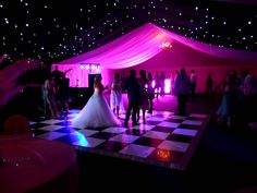 Night time wedding fun in Ramsden Heath The bride could kick back and after the formalities of the day! This scene was created by using starlight linings and colourwash.