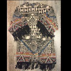Final Price Tan And Multicolor Tribal Print Kimono