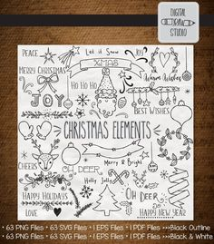 A bundle of vintage Holiday doodles; Santa Claus, reindeer, tree shape, New Year, retro ornaments illustrations. Christmas Doodles, Christmas Drawing, Christmas Clipart, Christmas Crafts, Holiday Ornaments, Christmas Holiday, Bullet Journal Entries, Bullet Journal Set Up, Bullet Journal Layout