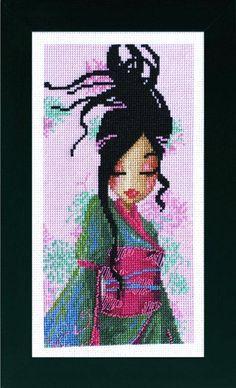 0 point de croix geisha - cross stitch