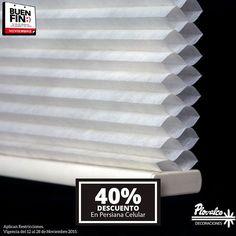 Las persianas Celulares son las que mas nos protejen del calor y ahorita toda la linea de Celulares Mirage esta con el 40% de decuento. - http://ift.tt/1QIZuz0