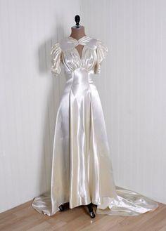 Wedding or Evening Gown: 1930's, bias-cut heavily-sculpted silk satin.