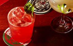 Trouble in Paradise Cocktail...Bourbon, Campari, grapefruit juice...