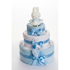 Miffy 3 Tier Nappy Cake Featuring the popular Miffy the Rabbit, our gorgeous 3 tier nappy cake is a modern and unique gift for mum-to-be who is expecting a baby boy. £70.00