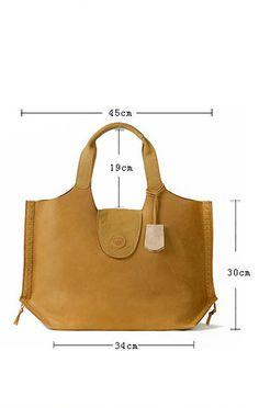 Leather Tote Bag-Yellow Extra Large Designer Handbag by KiliDesign