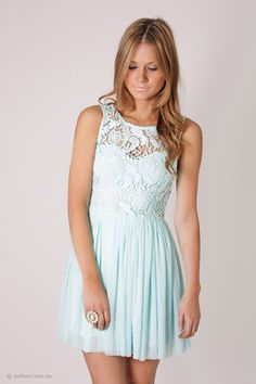 tea party lace bodice cocktail dress- baby blue