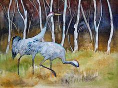 Unsere verkauften Aquarelle 2013   Bilder, Aquarelle vom Meer & mehr - von Frank Koebsch #Aquarelle #watercolors #Kraniche #cranes