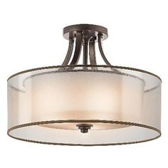 Four Light Mission Bronze Drum Shade Semi-Flush Mount. Item This Four Light Drum Shade Semi-Flush Mount is part of the Lacey Collection and has a Mission Bronze Finish. Living Room Lighting, Bedroom Lighting, Kitchen Lighting, Home Lighting, Ceiling Lighting, Lighting Ideas, Ceiling Lamp, Farmhouse Lighting, Bedroom Ceiling Lights
