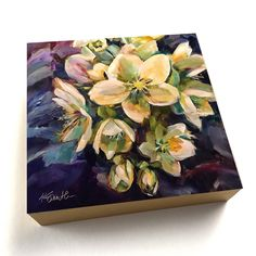 """Bewitched, an original 12""""x12"""" oil painting of hellebores by Lancaster, Pa artist Kim Smith #originalart #homedecor #oilpainting #hellebores #floralart #interiordesign"""