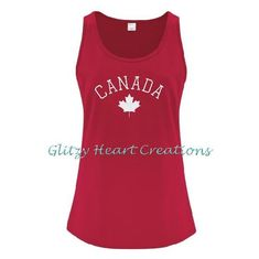 Canada Tank Top, Ladies tank top, Canada, maple leaf tank, Canada Day top, Canada top, Maple leaf, womens tank top, Canada sparkle by GlitzyHeartCreations on Etsy Canada Maple Leaf, Mesh Laundry Bags, Tank Design, Leaf Design, Cool Tees, Heat Transfer, Tank Tops, Lady, Size Chart