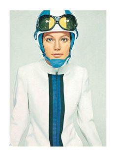 David Bailey, Fusalp sportswear, Sandri Sport hat, Vogue Italia, Dec 1967. Via Vogue.it