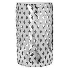 """Stainless steel end table with an openwork basketweave design.   Product: End tableConstruction Material: Stainless steelColor: SilverFeatures: Masterfully woven and delightfully designed Dimensions: 19.7"""" H x 11.8"""" Diameter"""