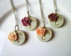 Romantic vintage rose neckaces.  Great inspiration!