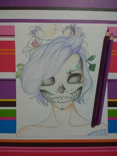 Desenho feito baseado em uma foto de uma maquiadora. #draw #drawing #calavera #halloween #desenho #arte #flores