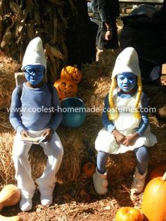 Homemade Kids Smurf Costumes: I really enjoy making my children's costumes. After seeing my kids watch The Smurfs a million times, I knew exactly what they would be for Halloween.