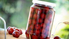 Σπιτική κομπόστα κεράσι ή βύσσινο Cherry Brandy, Limoncello, Greek Recipes, Cooking Tips, Liquor, Sweet Treats, Bakery, Jar, Sweets