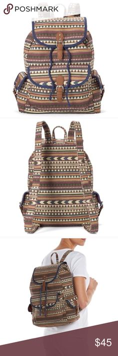 Tribal backpack purse Product Details The Tribal pattern of this backpack will get you compliements in no time. In brown.  PRODUCT FEATURES Tribal design Buckle accents PRODUCT DETAILS 14''H x 8.75''W x 4.5''D Top handle: 2'' Top handle & adjustable straps Magnetic snap & drawstring closures Exterior: 3 slip pockets Interior: zip pocket & 2 slip pockets Canvas, faux leather coachella edc festival Bags