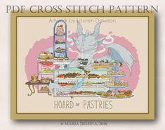 Dragon Hoard of Pastries PDF cross stitch pattern от LittleRoomInTheAttic