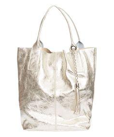 Pia Sassi Platinum Chain Tassel Leather Tote   zulily