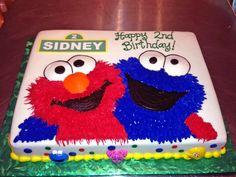 2nd Birthday, Cake, Cookie Monster, Elmo, Kids, Sesame Street