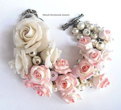 Plastic Art. Art Jewelry. Sculpture Flowers. Weddings Bracelet. soft pink. Bridal Bracelet. handmade. shabby chic style. Roses jewelry.