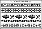 Aztec borders vector set Black and White