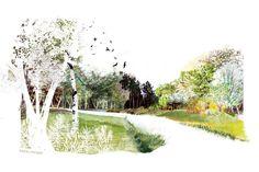 L'enveloppe du vide : Marie HUNGLER Concept Board Architecture, Collage Architecture, Architecture Graphics, Architecture Drawings, Urban Architecture, Photomontage, Landscape Drawings, Landscape Design, Landscape Architecture Perspective