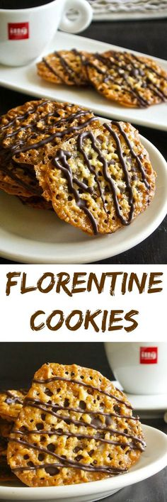 Sometimes called lace cookies, Florentine cookies are made of finely chopped almonds with orange & vanilla, then either dipped or sandwiched with chocolate. Cookie Desserts, Just Desserts, Delicious Desserts, Dessert Recipes, Chocolate Desserts, Chocolate Cookies, Italian Desserts, Holiday Desserts, Almond Cookies