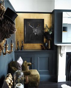 quirky home decor Stunning dark dining room with a gilded gold leaf wall and quirky artwork. Decor, Dark Living Rooms, Room Design, Interior, Eclectic Home, Home Decor, Disney Home Decor, Dark Interiors, Dark Dining Room