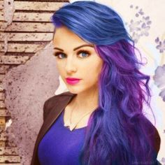 #blue & #purple #dyed #scene #hair #pretty