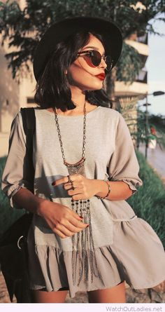 Fashion gray dress, necklace, sunglasses, hat and bag