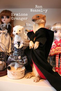 I'm not into taxidermy--but the bloggess gives me the giggles-- Ron Weasel-y looks to be a ginger, too.  Of course the Blythe's are pretty awesome :) (Has anyone ever tried to come up with a knitting pattern for her critters?)