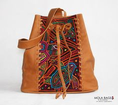 Backpacks – Small Leather Backpack with Textil Mola – a unique product by MolaBags on DaWanda Leather Purses, Leather Handbags, Leather Working Patterns, Custom Purses, Leather Bag Pattern, Colorful Backpacks, Work Bags, Leather Bags Handmade, Small Bags