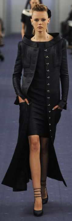 In this Chanel design, by having the skirt only knee length it makes it so the jacket can be very dramatic. This is how this design follows the principle of proption.