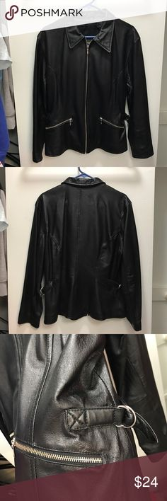 Wilsons Leather: Black Black leather jacket size L. Has front zip pockets and you can make the sides tighter. My mom only wore it once and she decided she didn't want it anymore. Looks brand new, in good condition. :) Wilsons Leather Jackets & Coats